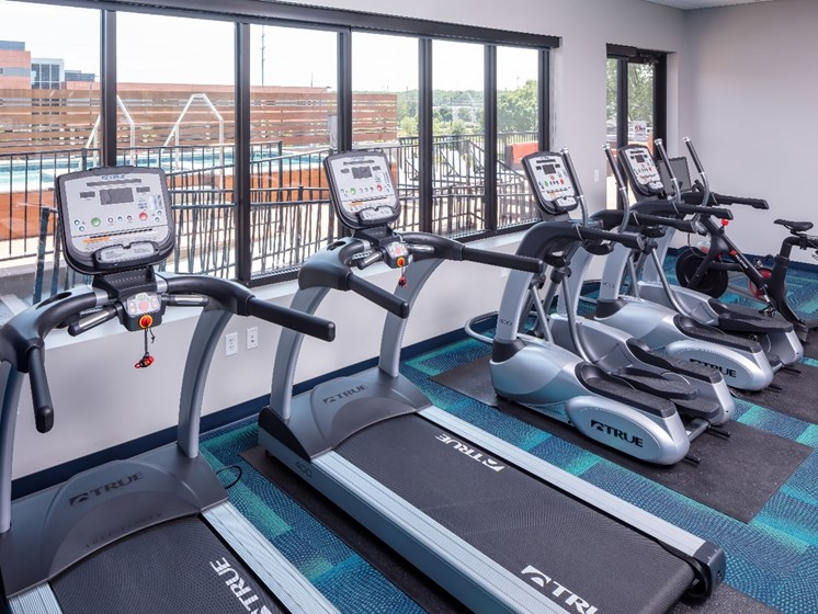 Fitness Center at Flux Apartments Des Moines IA