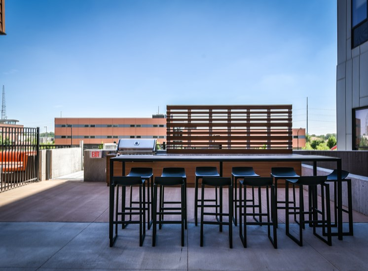 Grill and Courtyard at Flux Apartments Des Moines IA