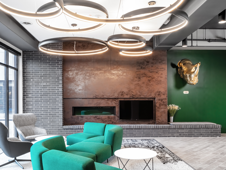 Lobby at Flux Apartments Des Moines IA