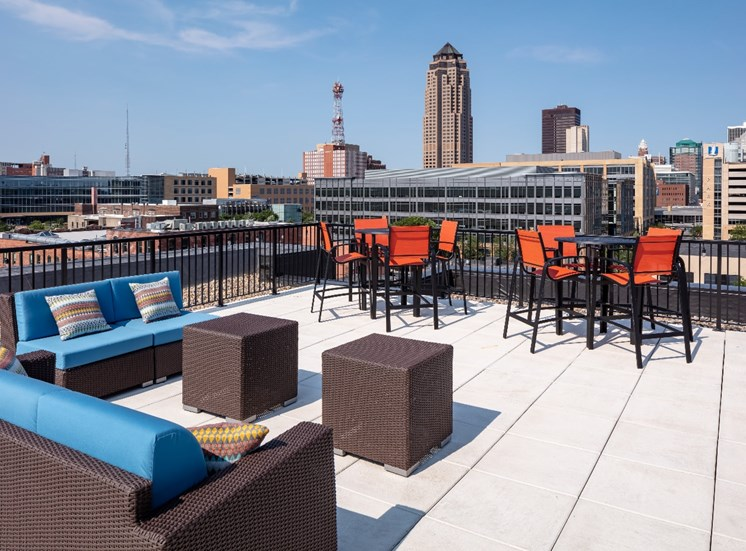 Rooftop Skydeck at Flux Apartments Des Moines IA