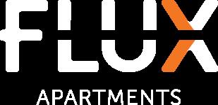 White Logo Flux Apartments Des Moines IA