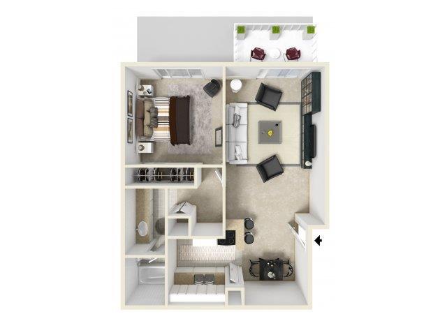 1X1 floor plan in Pico Rivera, CA l Corsica