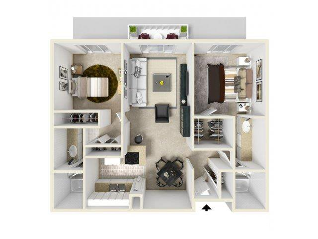 2X2 floor plan in Pico Rivera, CA l Corsica