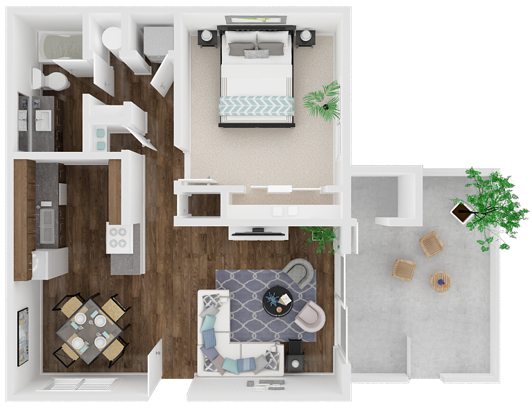 One Bedroom One Bathroom Floor Plan 1