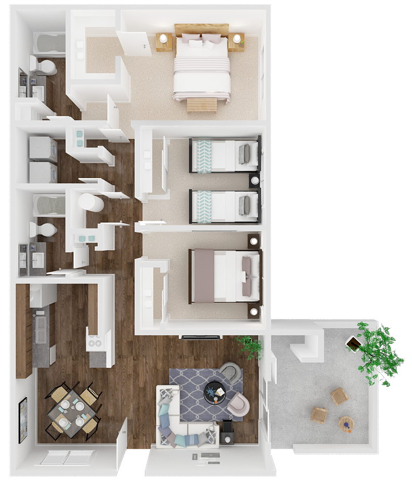 Three Bedroom 2 Bathroom Floor Plan 4