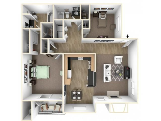 The Brook floor plan l The Preserve at Creekside Apartments in Roseville CA