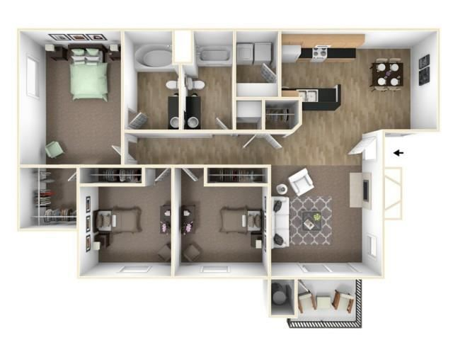 The Oak floor plan l The Preserve at Creekside Apartments in Roseville CA