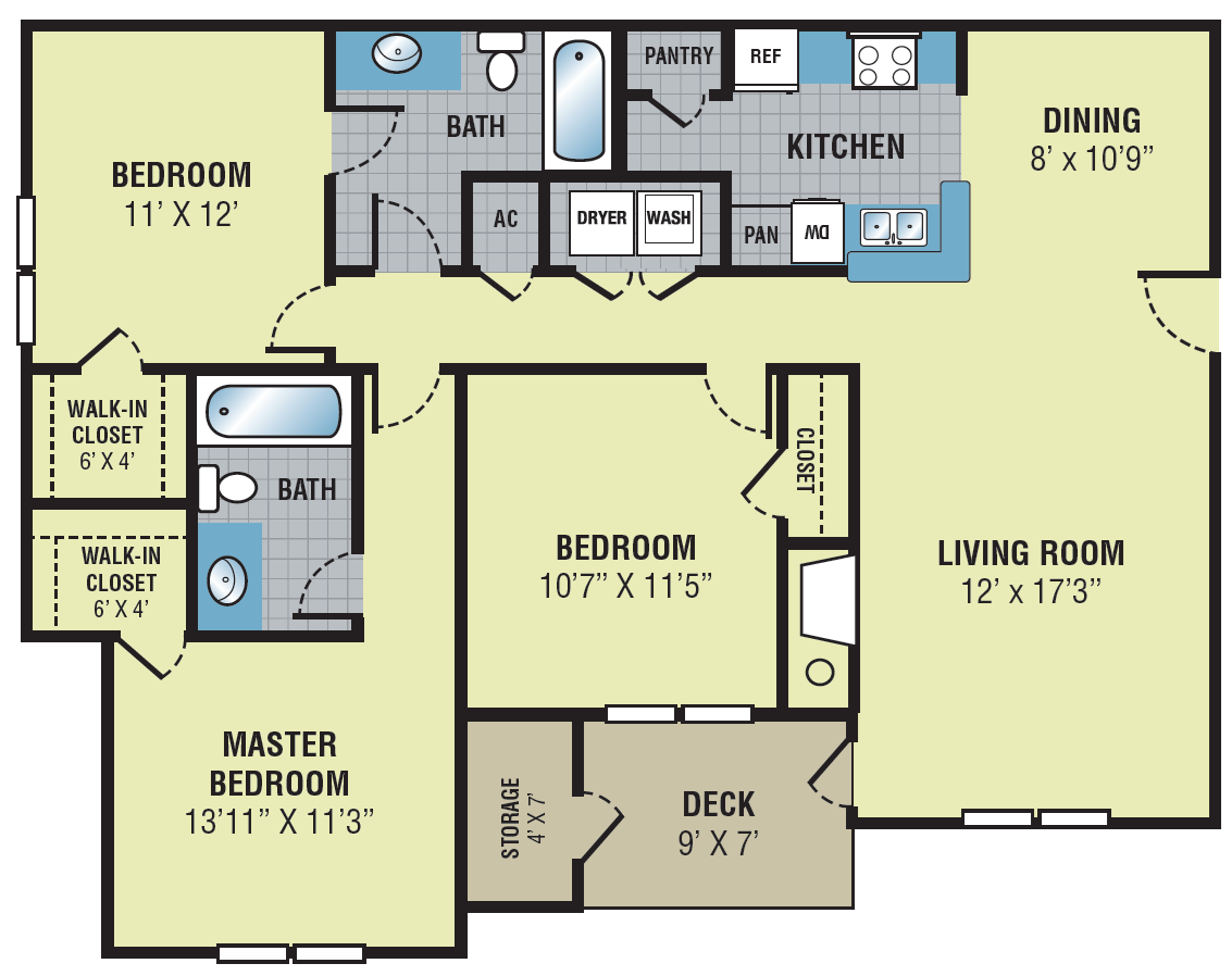 Fieldcrest Apartments Three Bedroom Floor Plan
