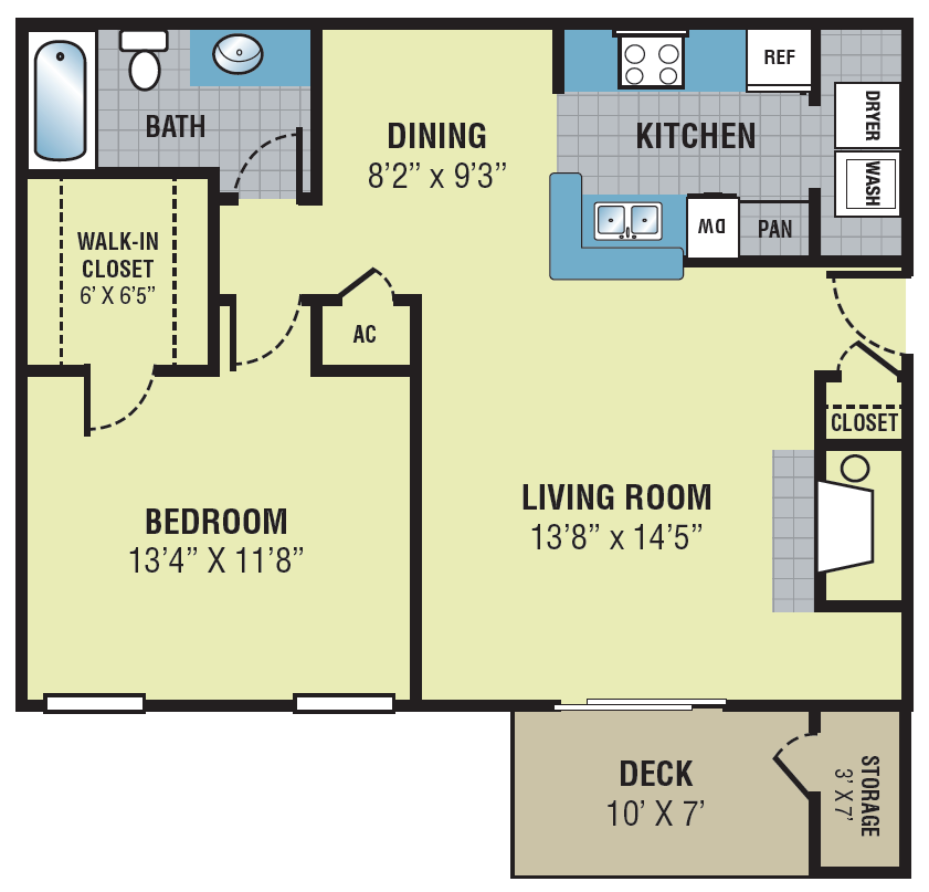 Fieldcrest Apartments One Bedroom Floor Plan