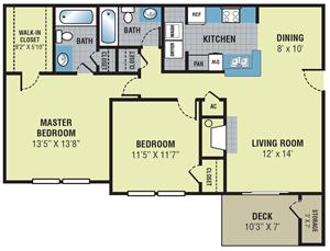 Fieldcrest Apartments Two Bedroom Floor Plan