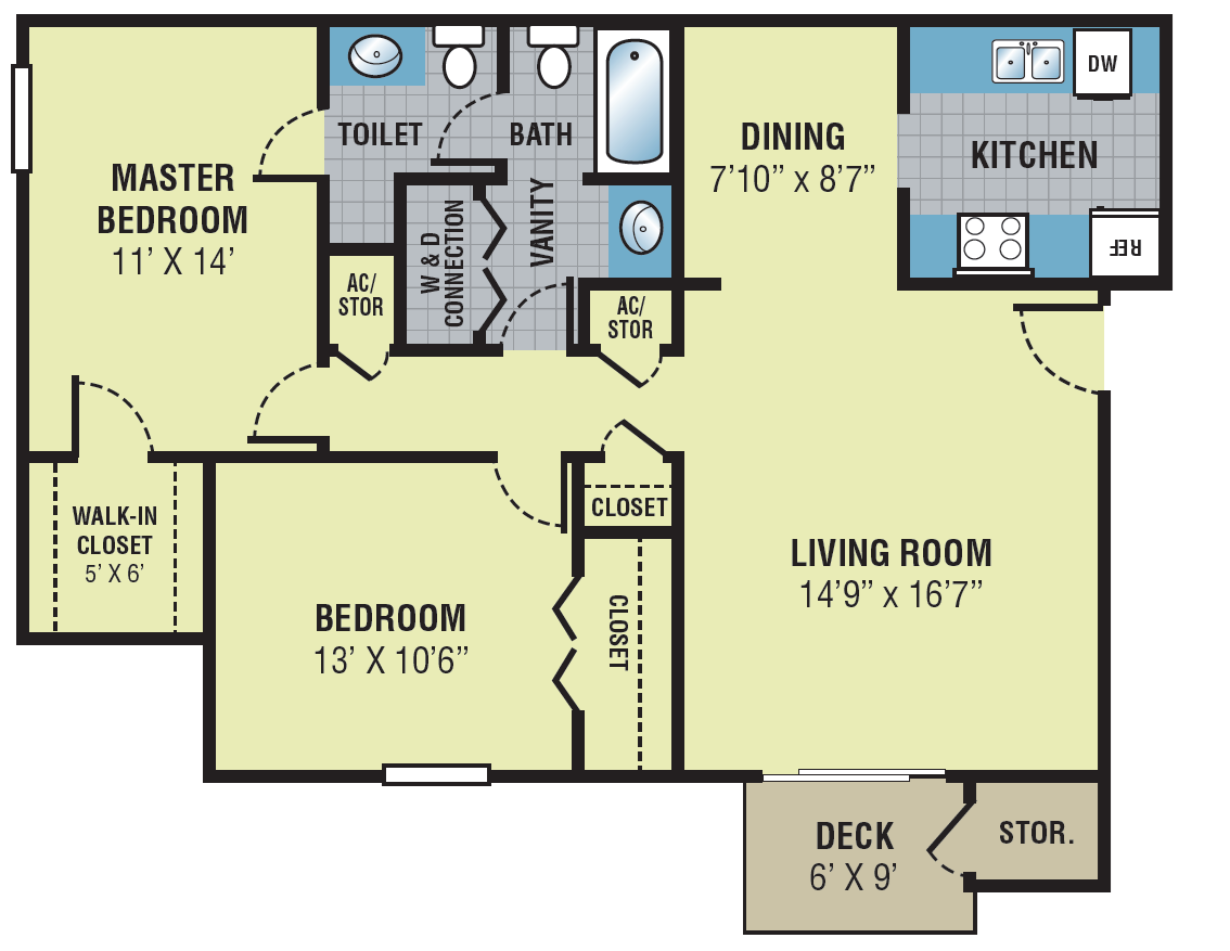 Fieldcrest Apartments Two Bedroom Floor Plan