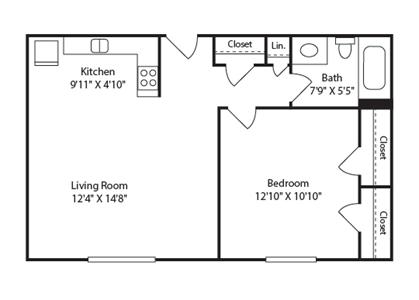 1 Bed - 1 Bath, 522 sq ft