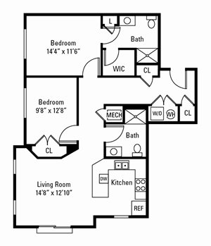 2 Bedroom, 2 Bath 1,071 sq. ft.