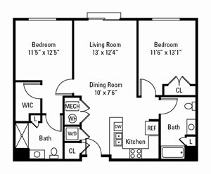 2 Bedroom, 2 Bath 1,073 sq. ft.