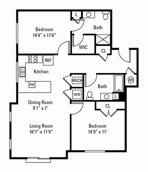 2 Bedroom, 2 Bath 1,187 sq. ft.