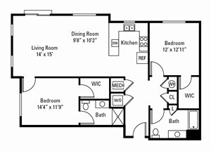 2 Bedroom, 2 Bath 1,254 sq. ft.