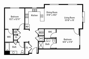 2 Bedroom, 2 Bath 1,327 sq. ft.
