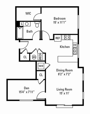 1 Bedroom, 1 Bath with Den 990 sq. ft.
