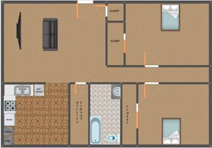 Southern Hills 2 bed 1 bath level 1