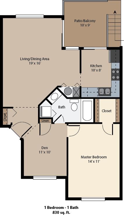 The Crossings at St. Charles 1 bed floor plan