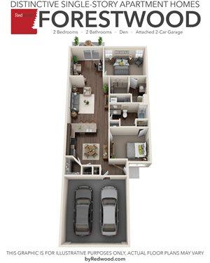 Forestwood - 2 Bed, 2 Bath, Den, 2-Car Garage