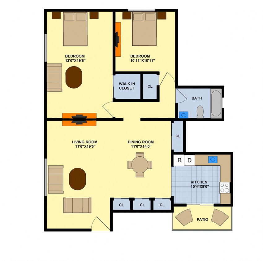 Two Bedroom (Downstairs End Unit)