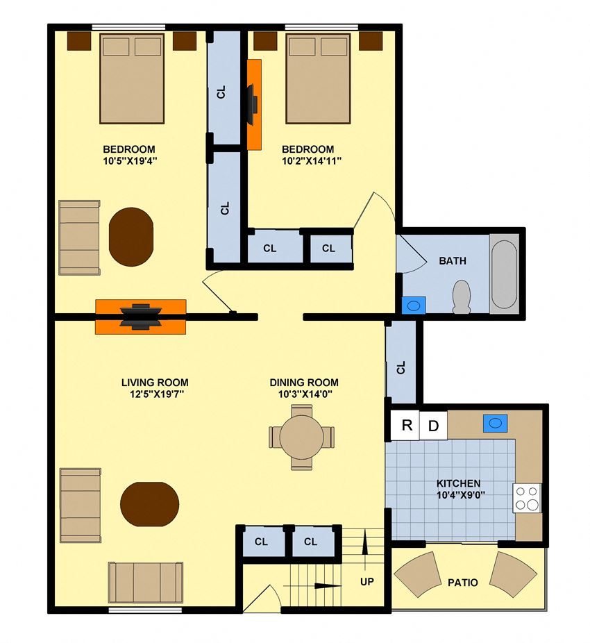 Two Bedroom (Upstairs Center Unit)