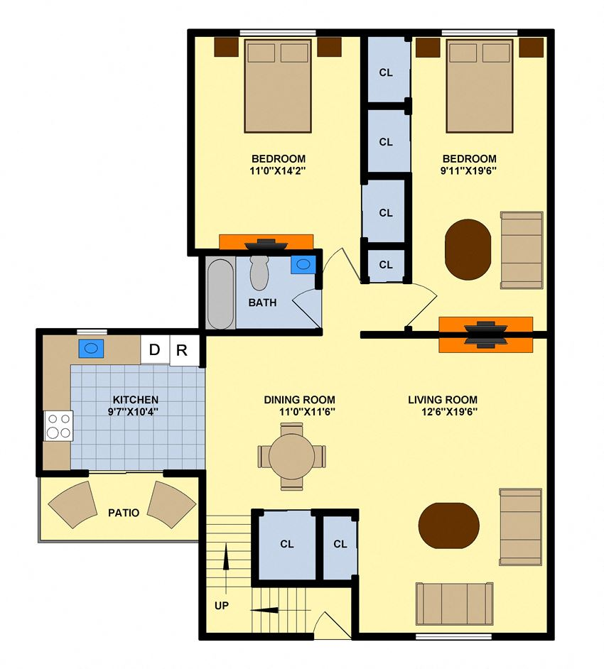Two Bedroom (Upstairs Inside Corner Unit)