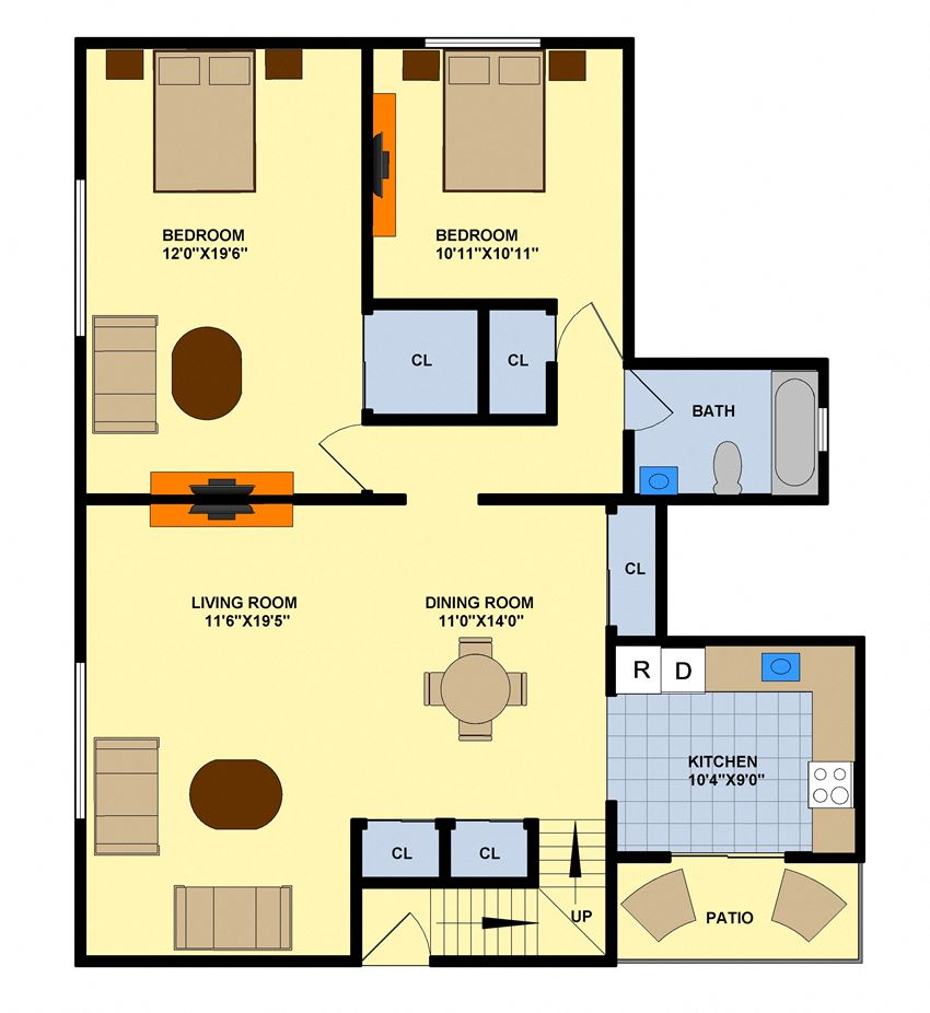 Two Bedroom (Upstairs End Unit)