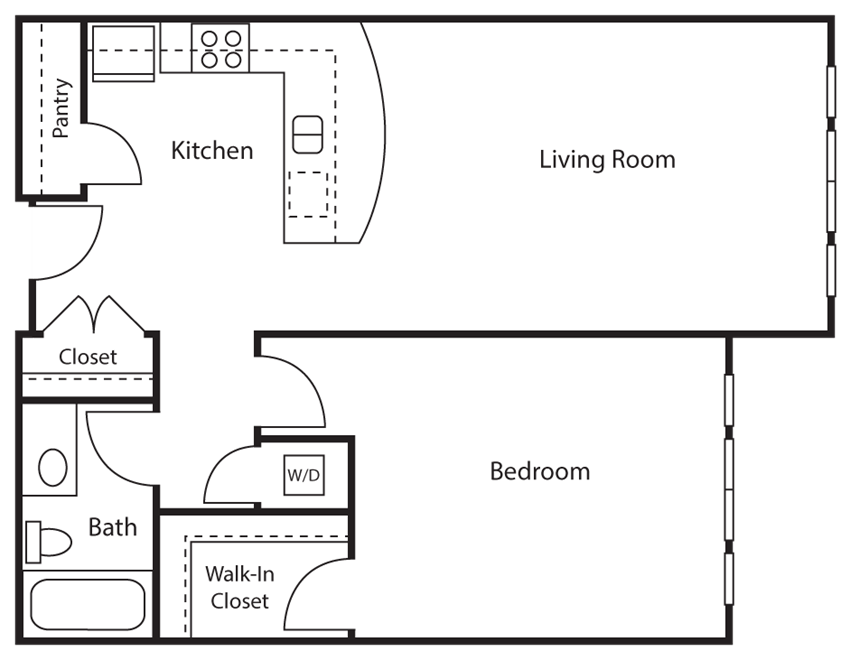 1 Bed - 1 Bath |746 sq ft 1 Bed 1 Bath Floor plan at Emerald Crest, Bothell, WA