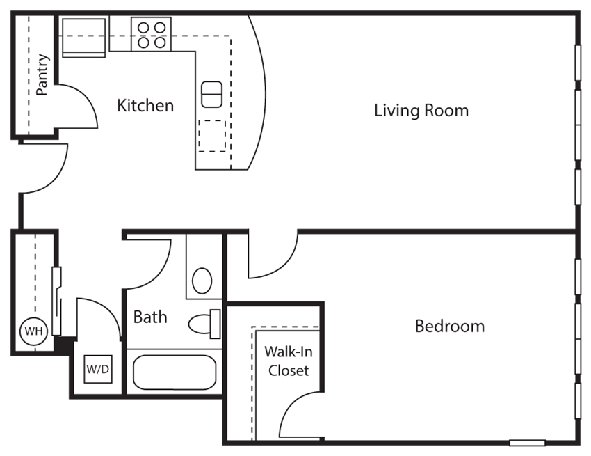 1 Bed - 1 Bath |770 sq ft 1 Bed 1 Bath Floor plan at Emerald Crest, Bothell, 98011