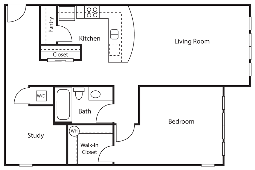 1 Bed - 1 Bath |850 sq ft 1 Bed 1 Bath + Study Floor plan at Emerald Crest, Bothell, WA 98011