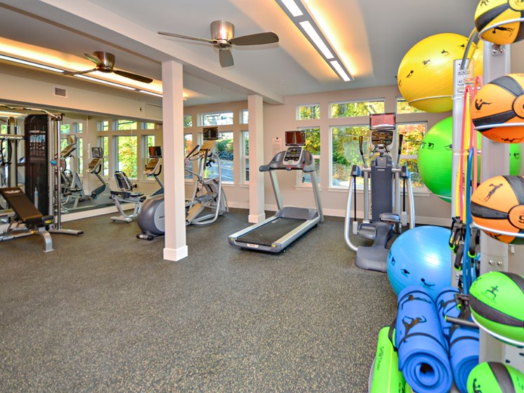 Fitness Center with Separate Spin Room at Emerald Crest, Bothell
