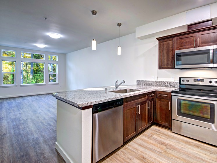 Spacious Kitchen with Pantry Cabinet at Emerald Crest, Bothell, WA 98011
