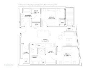 The Loden Edina Apartments Two Bedroom & 2 Bathroom Apartment Floor Plan