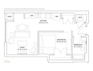 The Loden Edina Alcove / One Bathroom Apartment