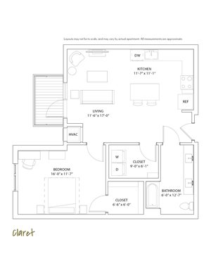 The Loden Edina Apartments 1 Bedroom & 1 Bathroom Apartment Layout