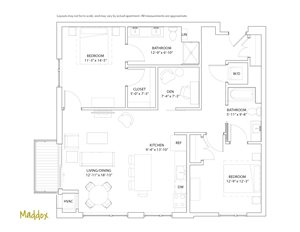 The Loden Edina Two Bedroom + Den / Two Bathroom Apartment