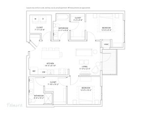 The Loden Edina Apartments 2 Bedroom & 2 Bathroom Apartment Layout