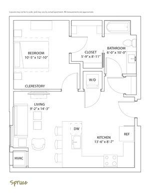 1 Bedroom & 1 Bathroom Apartment Floor Plan The Loden Edina Apartments