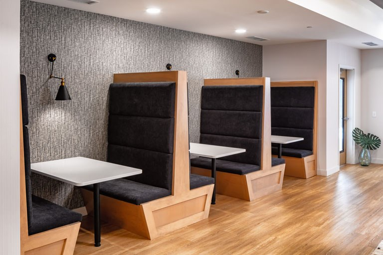 Co-Working Space Booths - The Loden Apartments Lifestyle