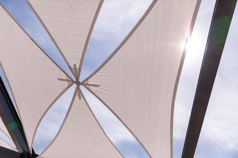 looking through the Cabana shades at sky