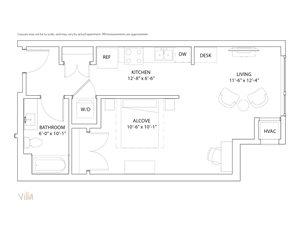 The Loden Edina Apartments Studio & 1 Bathroom Apartment Layout