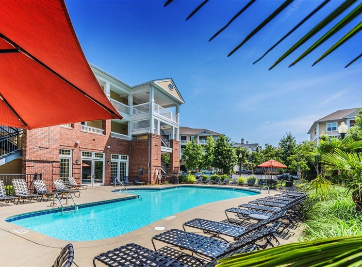 Pool deck at Rose Heights apartments, NC, 27613