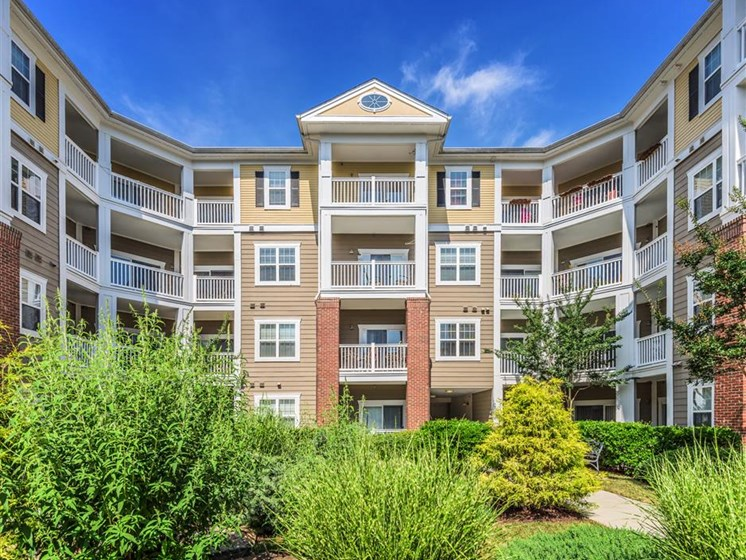 Lush landscape at Rose Heights apartments, 3801 Glen Verde Trail, Raleigh