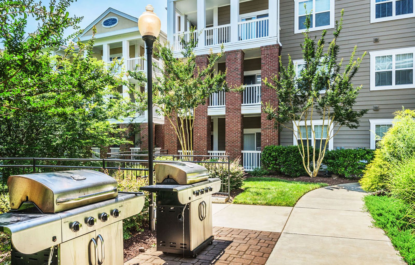 Grilling stations at Rose Heights apartments, Raleigh, North Carolina