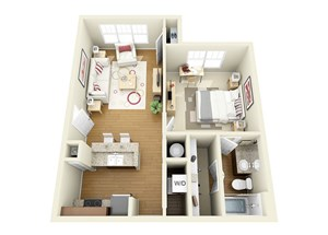 Bed 1 Bath With Walk-in Closet Floor Plan  at The Langston, Ohio, 44114