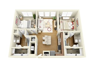 2 Bed 2 Bath Floor Plan at The Langston, Cleveland