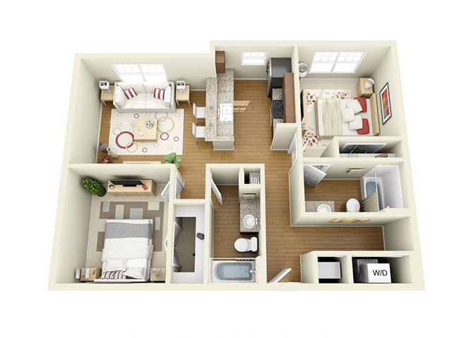 Luxurious 2 Bed Floor Plan at The Langston, Cleveland, OH, 44114