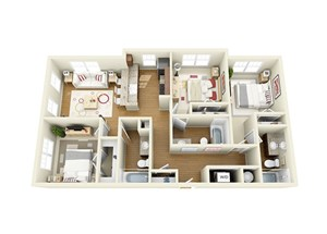 3 Bed 3 Bath Floor Plan at The Langston, Cleveland, OH